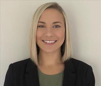 female office employee, blonde hair